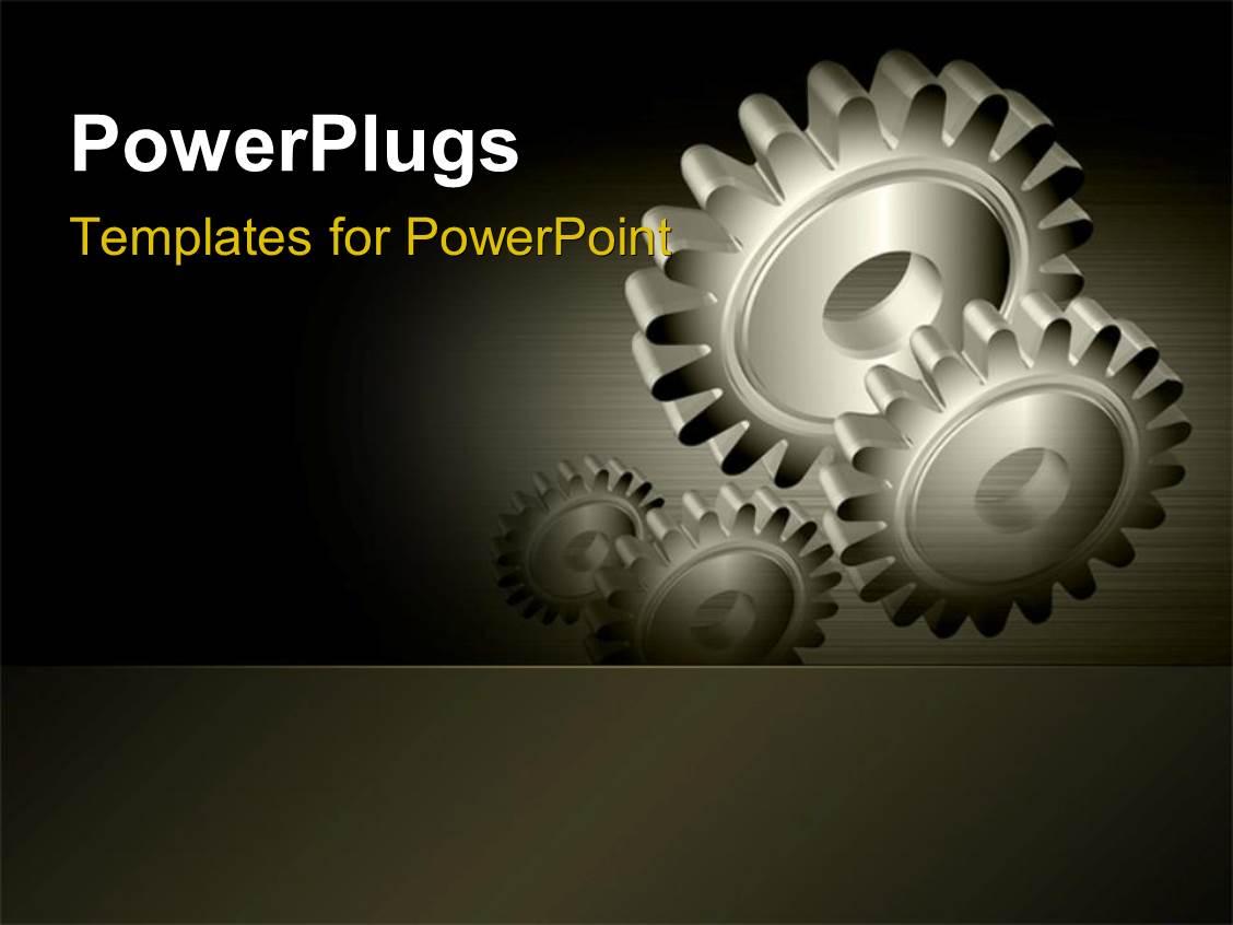 Powerpoint template mechanical gears for industry industrial theme ppt theme with industrial gears over steel grey background toneelgroepblik Choice Image