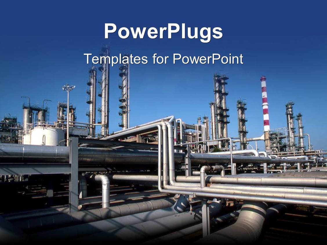 5000 factory powerpoint templates w factory themed backgrounds ppt theme with industrial pipes at a production factory causing pollution on a blue background toneelgroepblik Choice Image