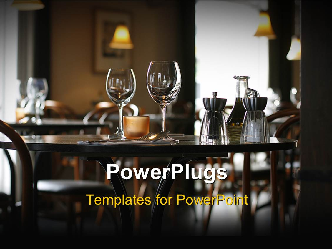 Restaurant powerpoint templates ppt themes with restaurant colorful presentation theme having interior of a cozy restaurant focusing on a ready table for two toneelgroepblik Image collections