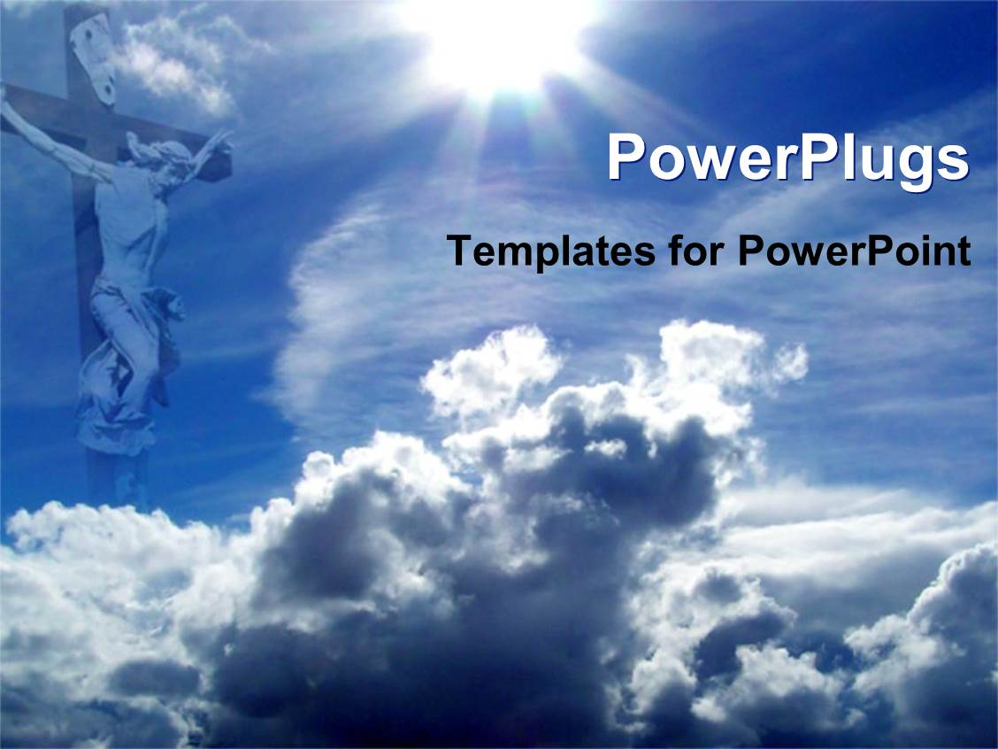 5000 religion powerpoint templates w religion themed backgrounds ppt layouts consisting of jesus on cross with blue sky and clouds christianity religion template size toneelgroepblik Images