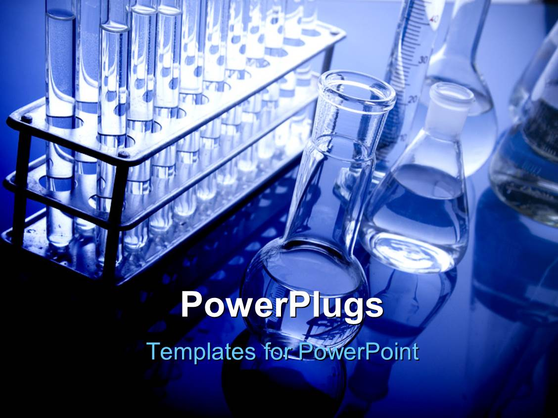 Powerpoint template science lab experiment pharmaceutical research amazing slide deck consisting of laboratory glassware and other equipment on blue shiny background toneelgroepblik Choice Image