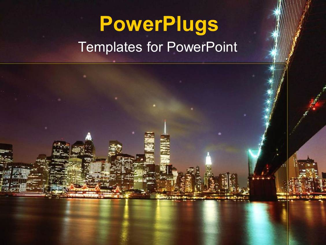 5000 new york powerpoint templates w new york themed backgrounds presentation theme having landscape view of new york city showing lots of lights and the sea toneelgroepblik Images