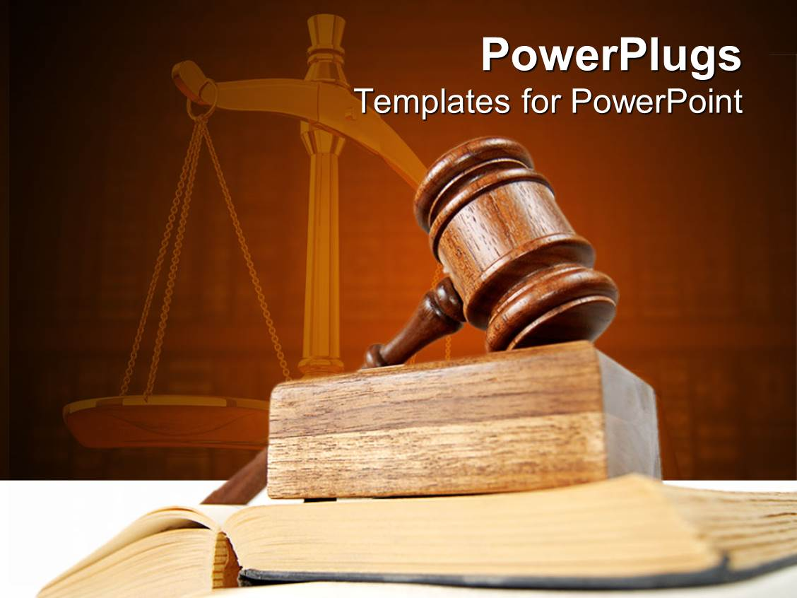 Powerpoint template legal theme with scales of justice atop of presentation design with legal theme with judges gavel atop of opened justice book and scales of toneelgroepblik Gallery