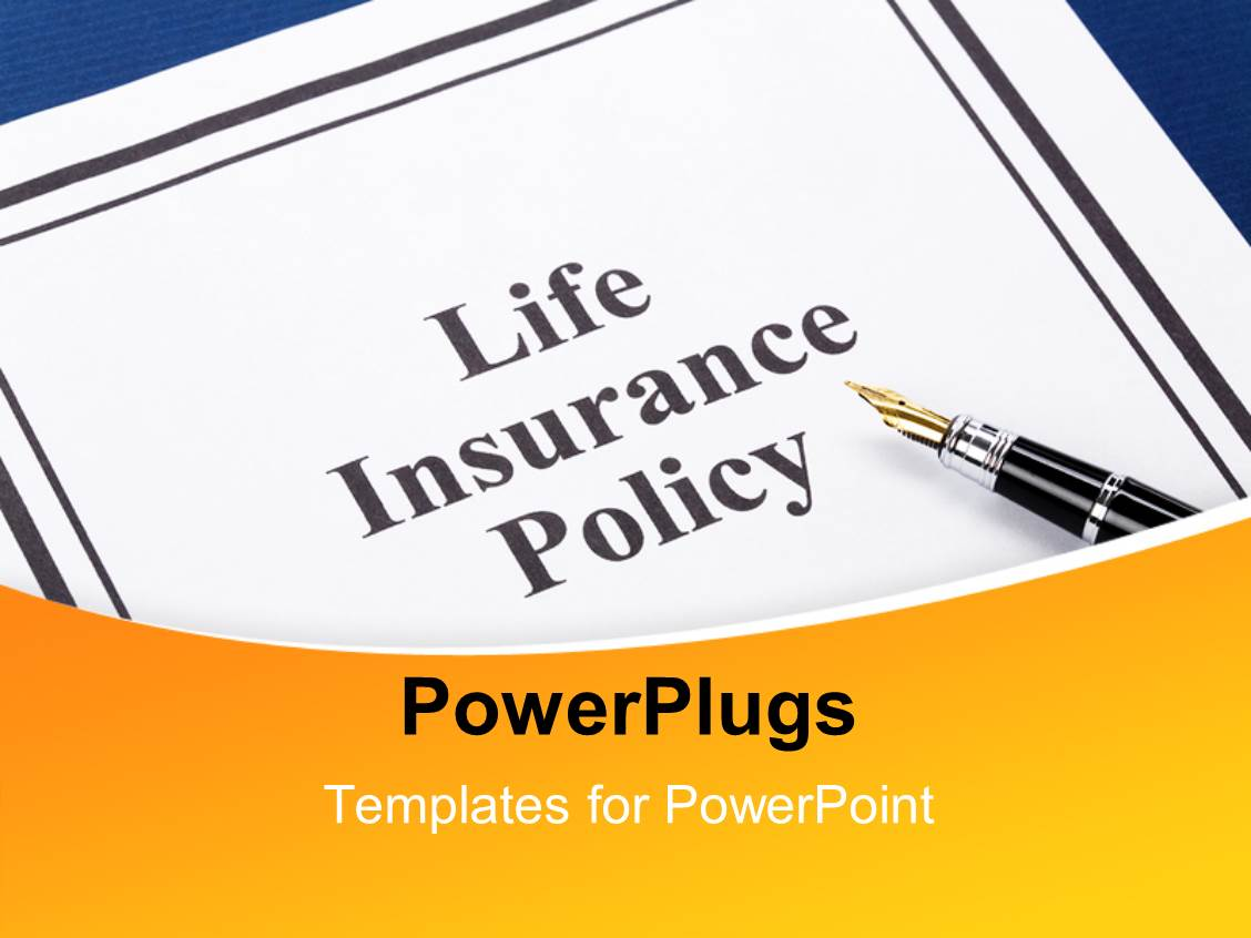 5000 health insurance powerpoint templates w health insurance theme with the life insurance policy file with a pen toneelgroepblik Images