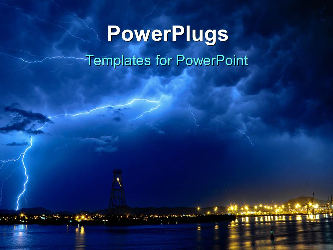 Powerpoint template a lightning thunder with skyscrapers in the amazing slides consisting of lightning storm at night over seaside town toneelgroepblik Image collections
