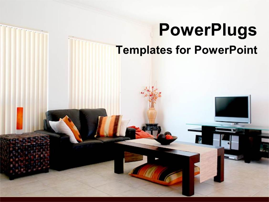 Powerpoint template living room with modern furniture and for Furniture templates for room design