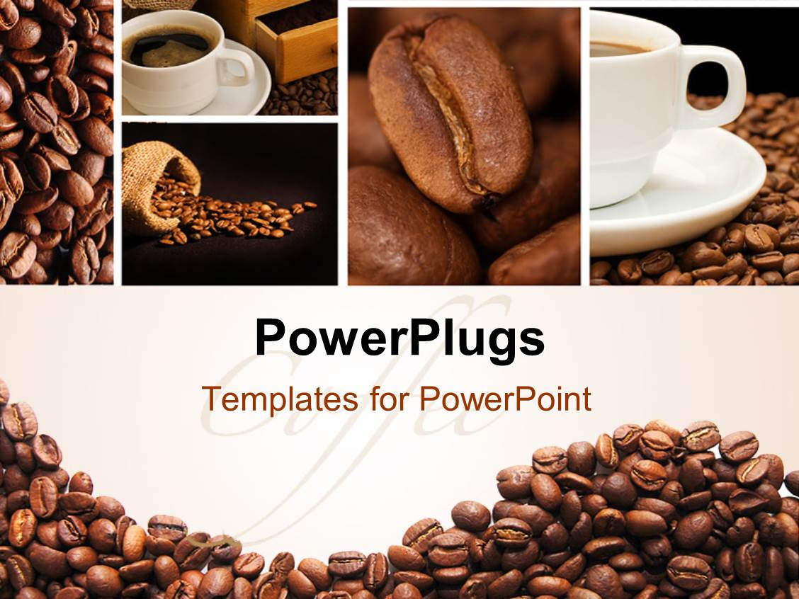 powerpoint template coffee collage in brown and white with cups