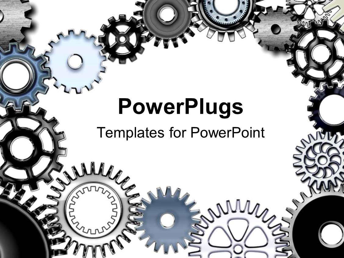 Powerpoint template lots of metallic gears on a white colored powerpoint template displaying lots of metallic gears on a white colored background toneelgroepblik Choice Image