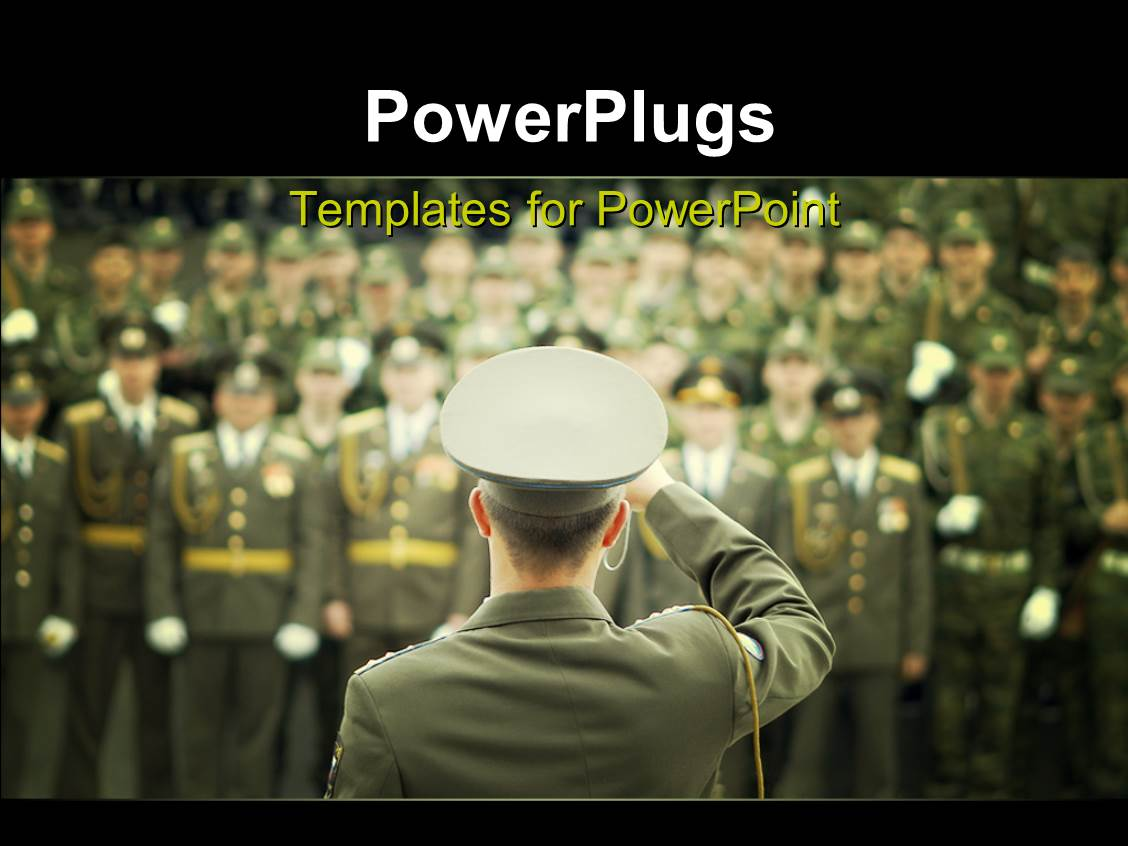 powerpoint template lots of military officials in on a blurry background with a leader saluting. Black Bedroom Furniture Sets. Home Design Ideas