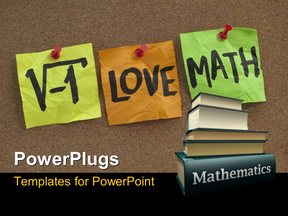 Math powerpoint templates ppt themes with math backgrounds elegant presentation theme enhanced with i love math humorous concept with mathematics books template size alramifo Images