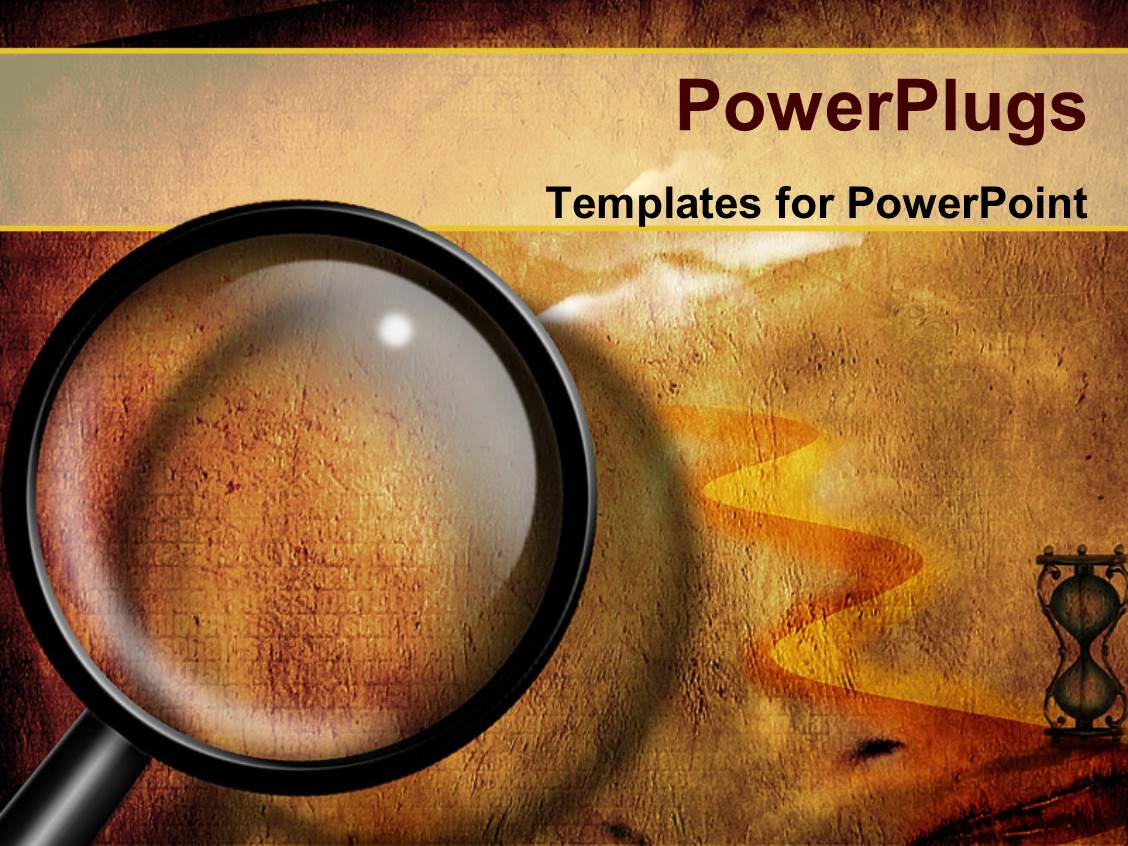 Powerpoint template ancient egyptian pharoah statues with columns elegant ppt theme enhanced with a magnifying glass and a lot of sand toneelgroepblik Images