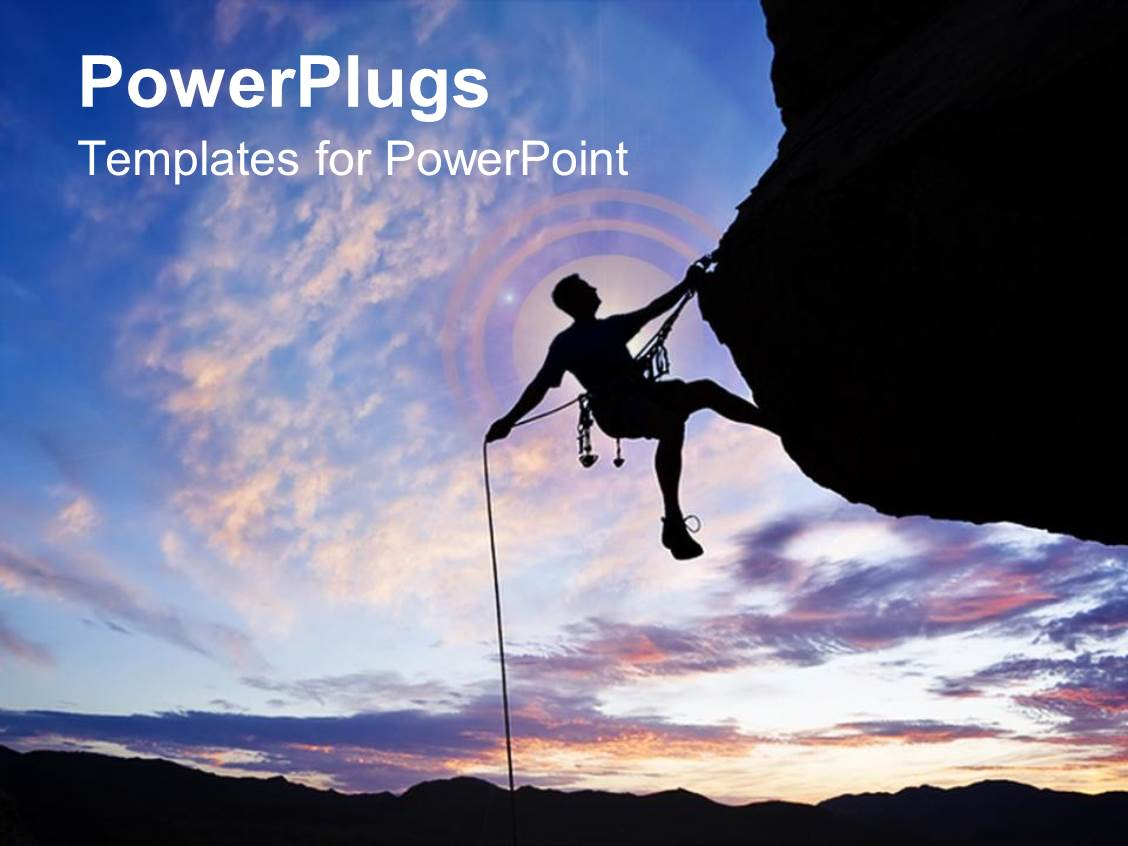 Powerpoint template a pair of rocks with a feather 11963 theme featuring a man climbing the rock success hard work toneelgroepblik Choice Image