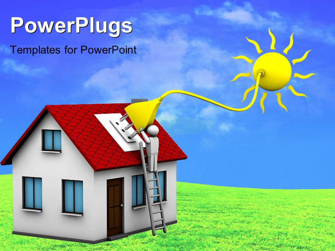 Solar energy powerpoint templates crystalgraphics presentation theme with man who installs a solar energy system on a house toneelgroepblik Image collections