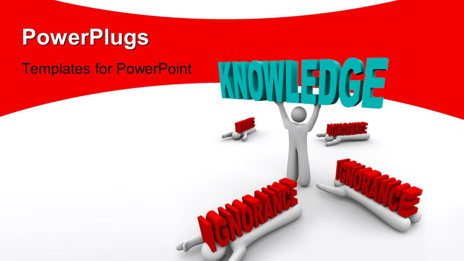 5000 knowledge powerpoint templates w knowledge themed backgrounds ppt theme consisting of 3d man lifts up word knowledge with burden of ignorance on colleagues toneelgroepblik Image collections