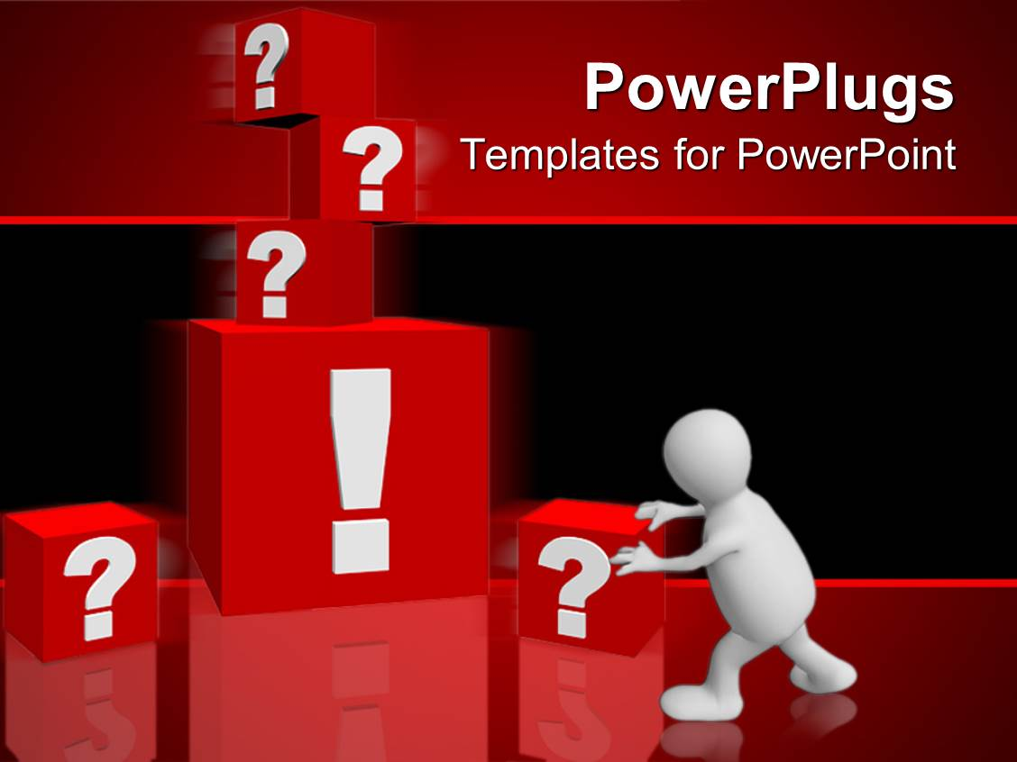 Top questions answers powerpoint templates backgrounds slides slides enhanced with man pushing red blocks with and signs in red background template size alramifo Choice Image