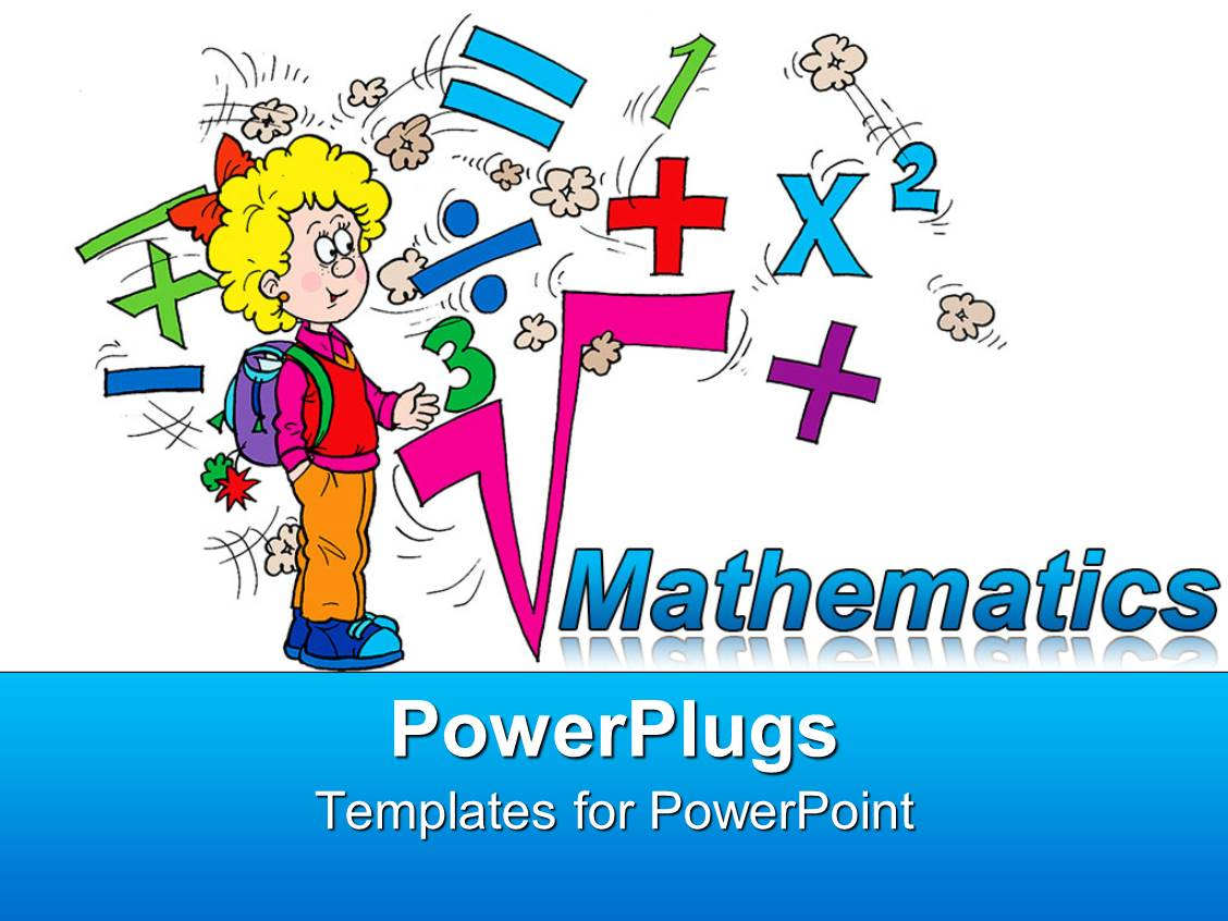 Powerpoint template math related symbols and the word mathematics powerpoint template displaying math related symbols and the word mathematics with a blond girl pupil on biocorpaavc