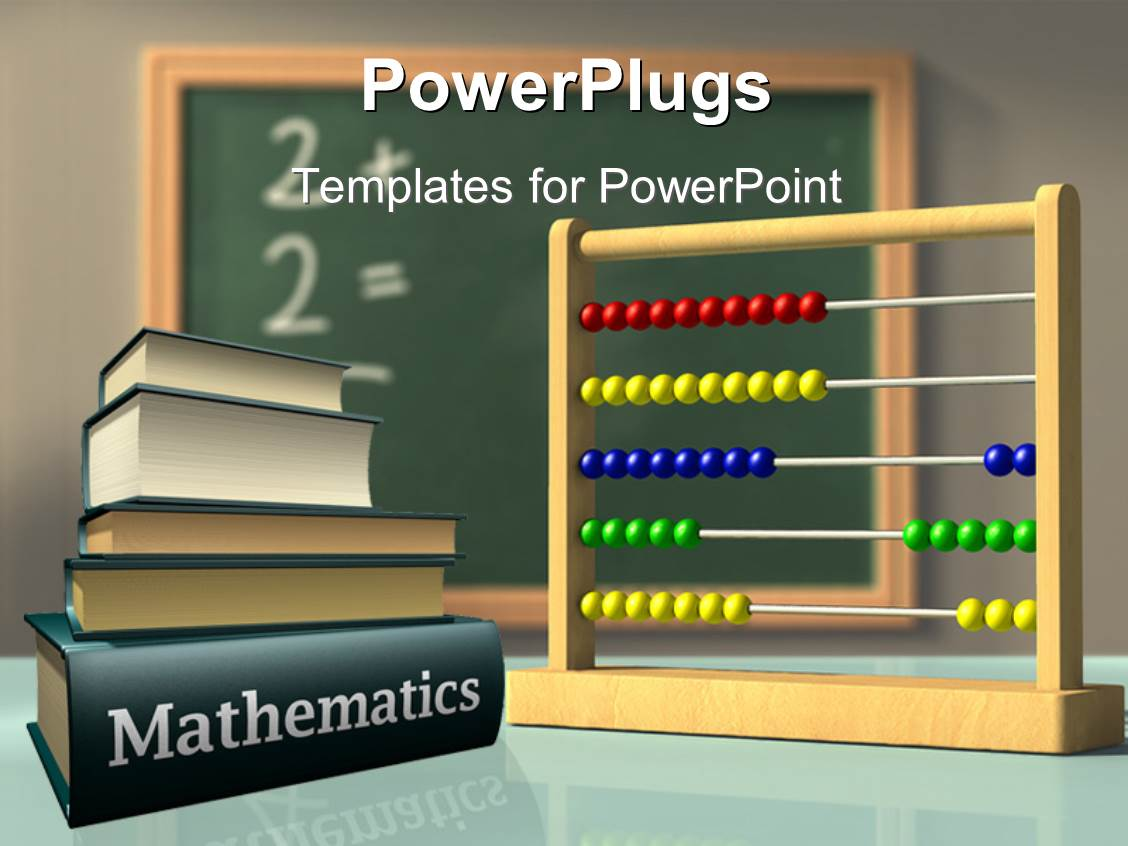 Powerpoint template math related symbols and the word mathematics colorful presentation having mathematics books and abacus in front of a chalkboard used to solve simple alramifo Images