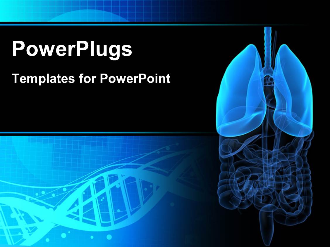 Powerpoint template human lungs and human body with rays in color theme enhanced with medical background with anatomy depiction of human organs and dna symbol in background toneelgroepblik Choice Image