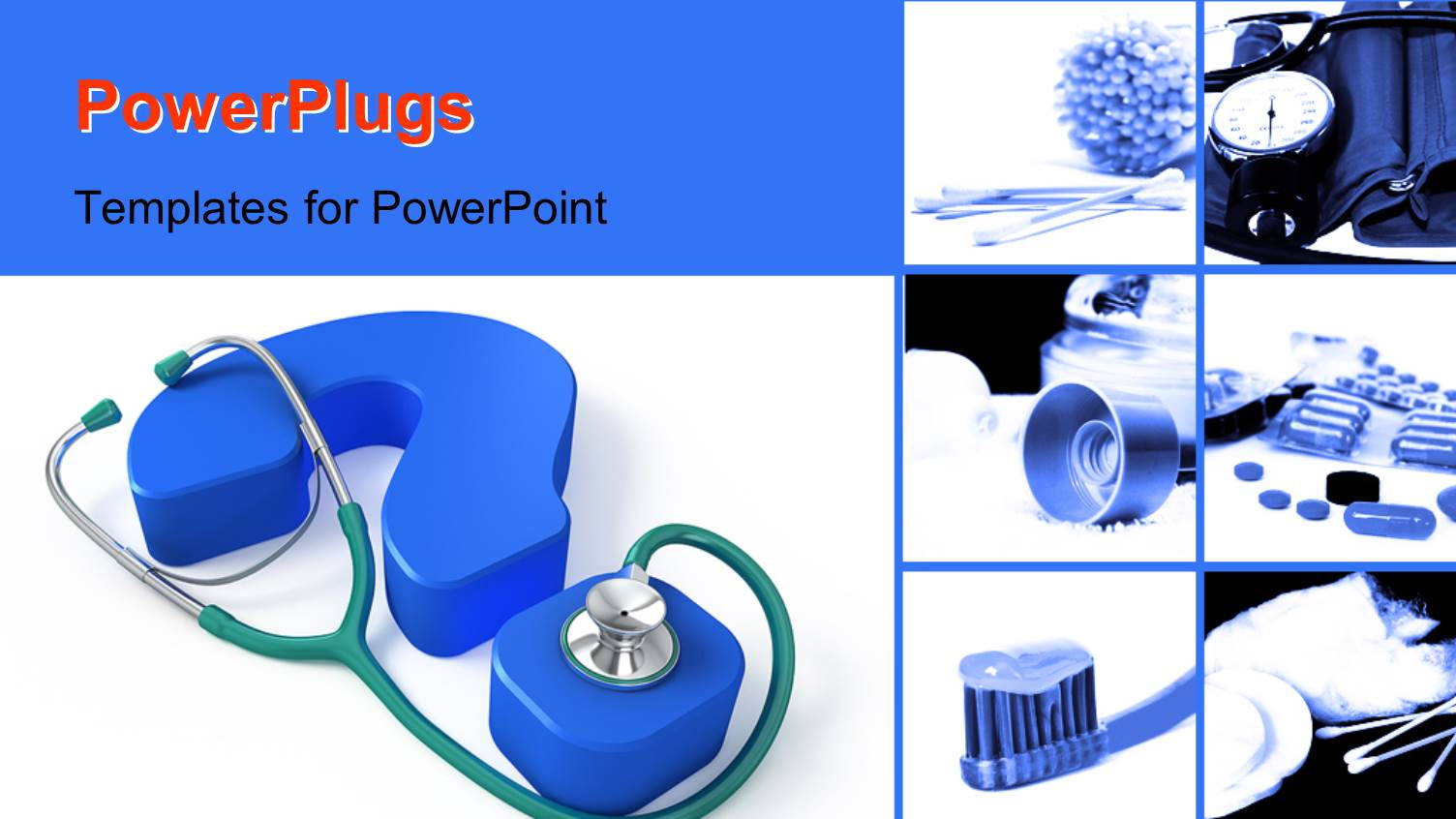 Powerpoint template human figures sitting with a book on question colorful presentation theme having medical collage with stethoscope on a blue question mark alramifo Choice Image