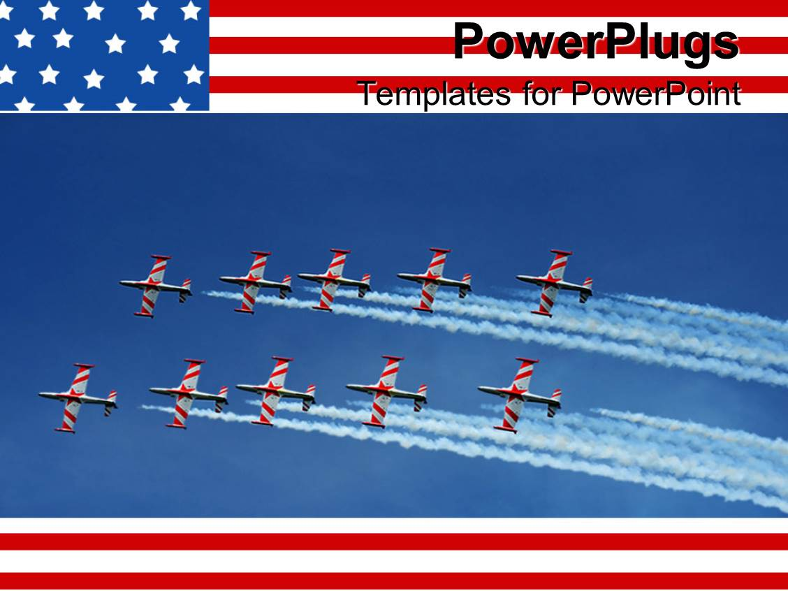 powerpoint template us military naval jets flying in formation on blue sky american flag. Black Bedroom Furniture Sets. Home Design Ideas