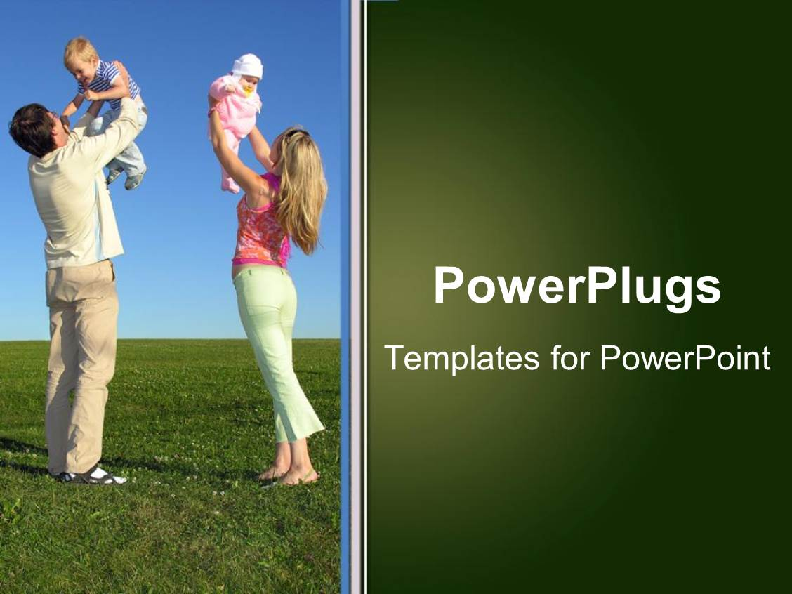 PowerPoint Template Displaying a Mother and a Father Lifting their Babies