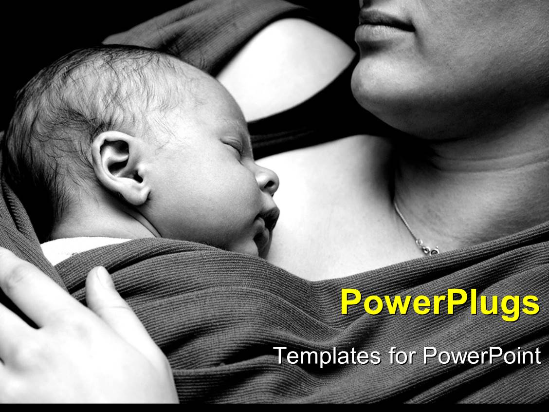PowerPoint Template Displaying a Mother with her small Child