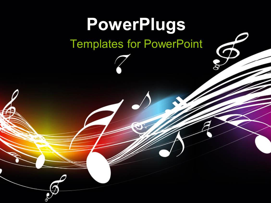 Powerpoint template music themed background with cool music ppt theme enhanced with music symbols floating over curves on dark background toneelgroepblik Choice Image