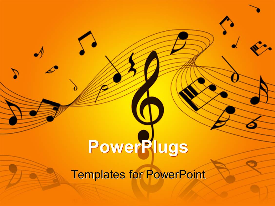 Powerpoint Template Word Music Above Gold Musical Notes And Piano