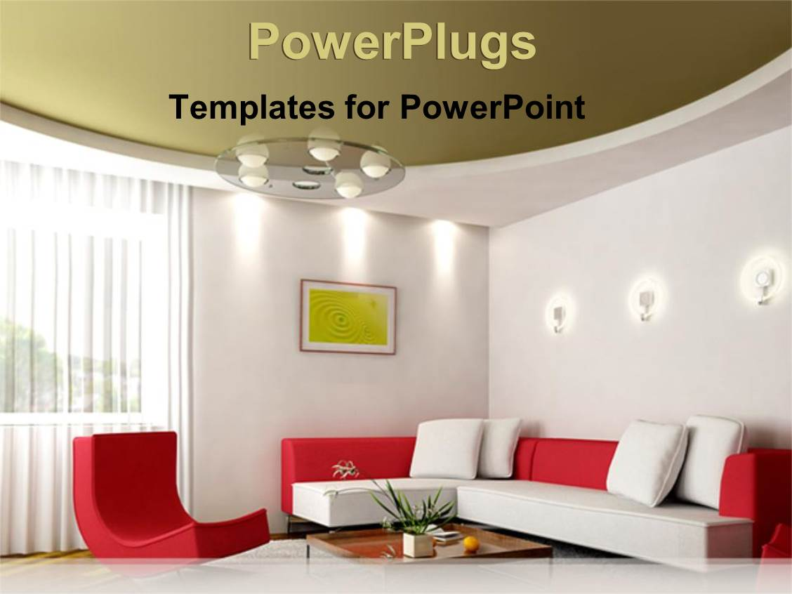 Live powerpoint templates ppt themes with live backgrounds presentation enhanced with neatly arranged sitting room with red and white couches template size alramifo Gallery