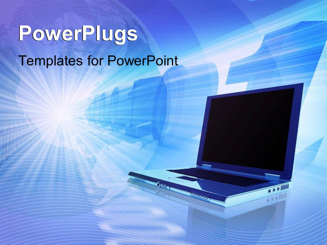 powerpoint template notebook laptop with numbers in the