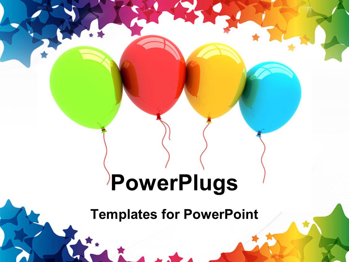 Powerpoint template multi color balloons and gifts depicting presentation theme with a number of colorful balloons with white background toneelgroepblik Image collections
