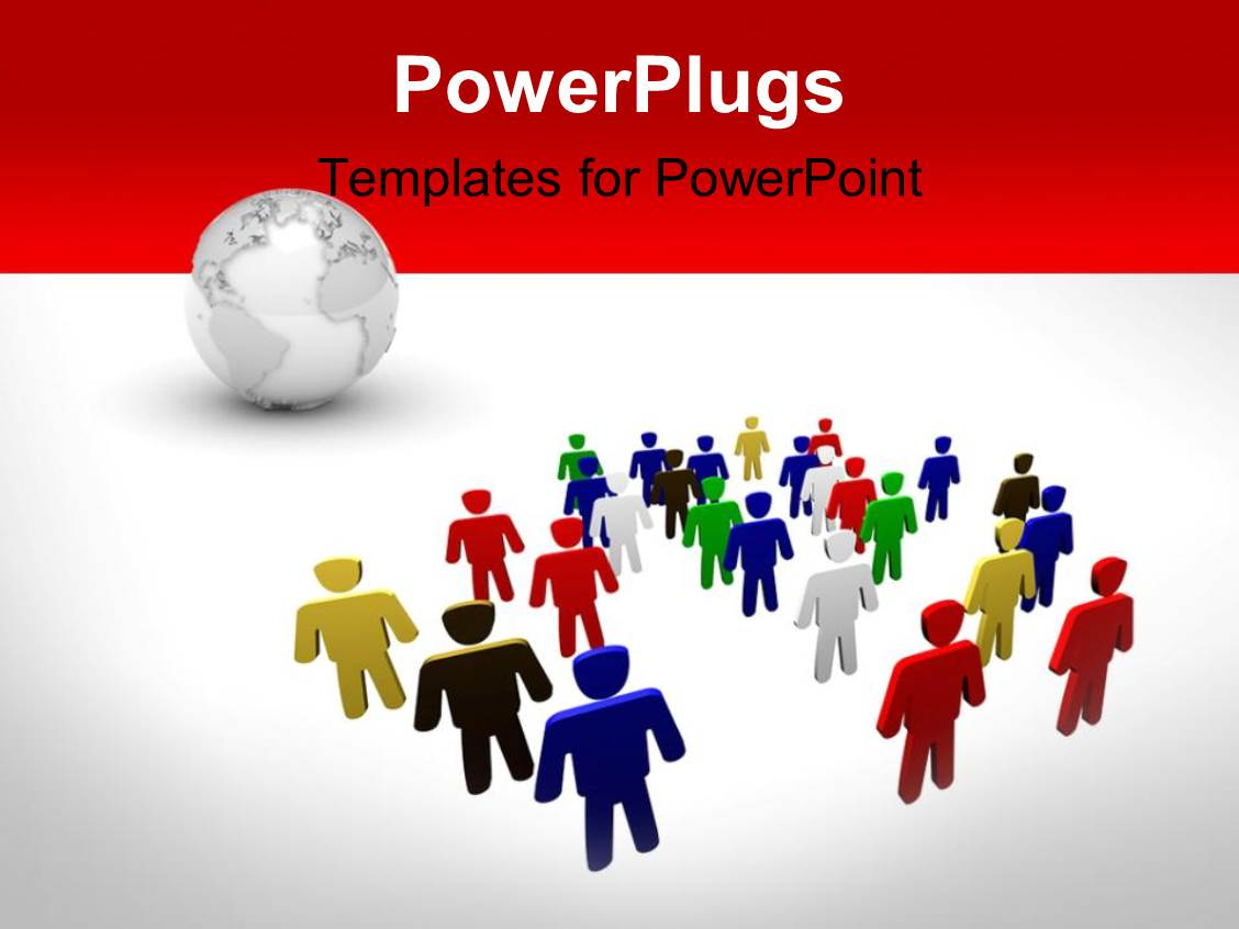 PowerPoint Template Displaying a Number of People Along with a Globe