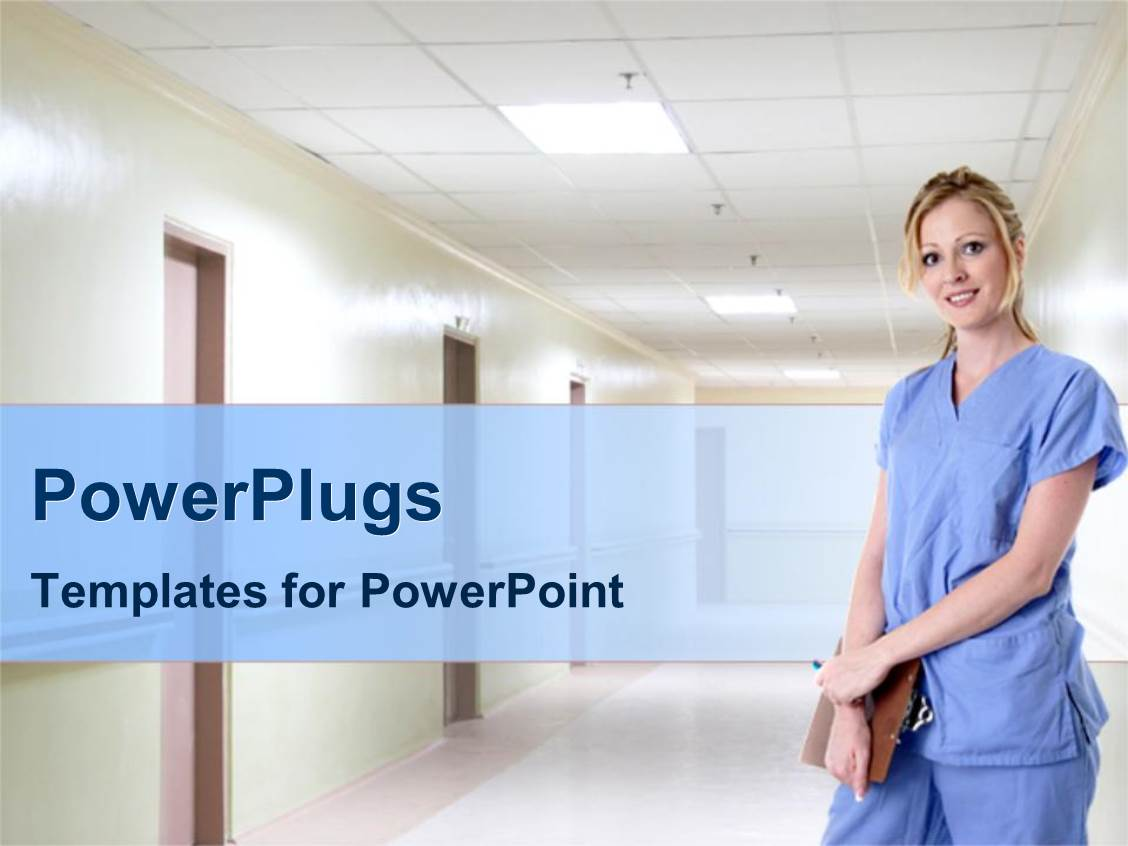 5000 nurse powerpoint templates w nurse themed backgrounds colorful slide deck having a nurse standing in a hospital corridoor holdng a clipboard template size toneelgroepblik Images