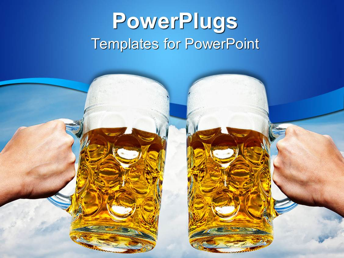 5000 beer powerpoint templates w beer themed backgrounds elegant ppt theme enhanced with oktoberfest beer stein cups toasting on blue and white sky cloud toneelgroepblik Gallery
