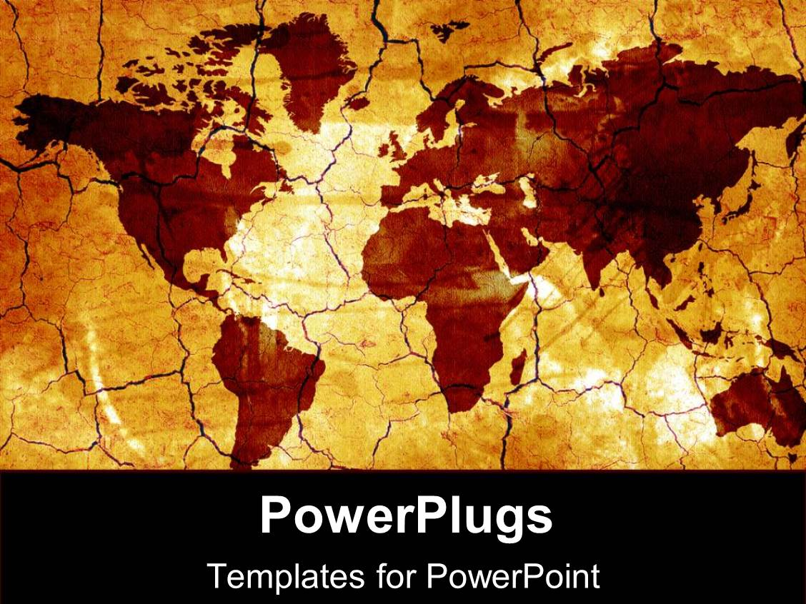 PowerPoint Template Displaying Old Fashioned Gold World Map and Countries on Tan Background