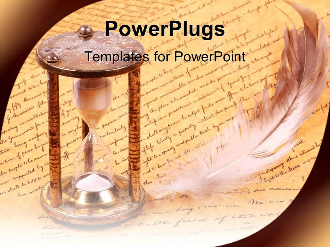Powerpoint template old fashioned hourglass and feather with powerpoint template displaying old fashioned hourglass and feather with scroll history alramifo Image collections