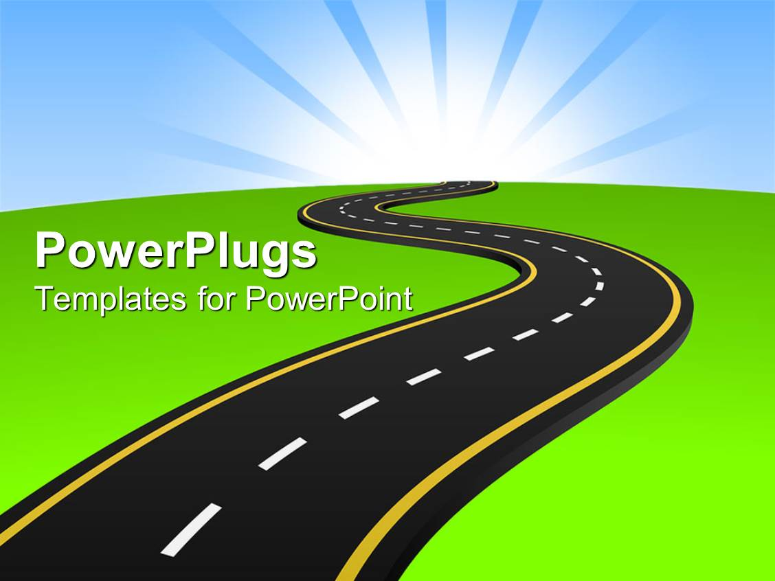 Powerpoint template white figures carrying large blue letters slides with one way tarmac road through green land toneelgroepblik Gallery