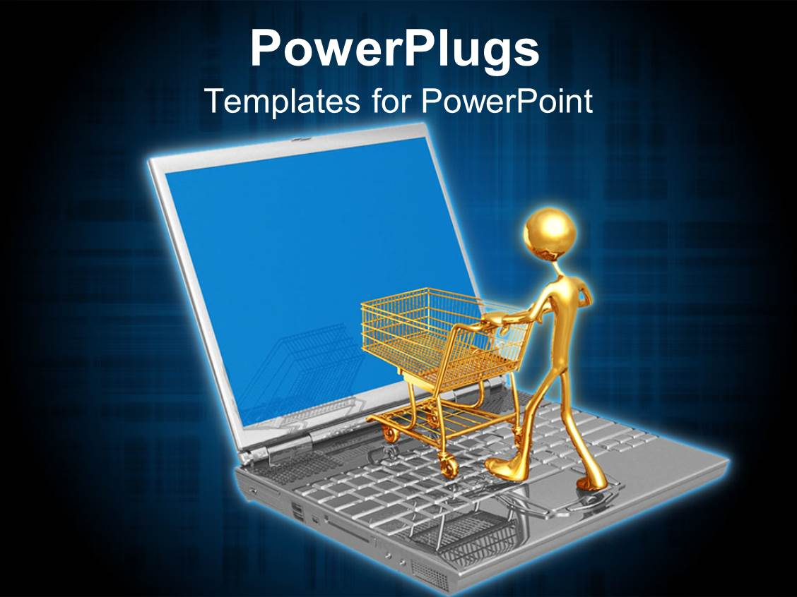 5000 online shopping powerpoint templates w online shopping themed colorful presentation having online shopping e commerce with laptop gold man shopping cart maxwellsz