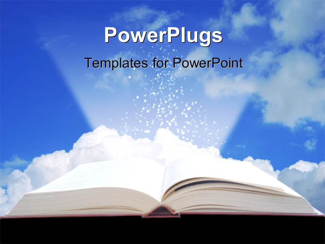 Top knowledge powerpoint templates backgrounds slides and ppt themes presentation theme featuring open book projecting light with clouds in background toneelgroepblik Image collections