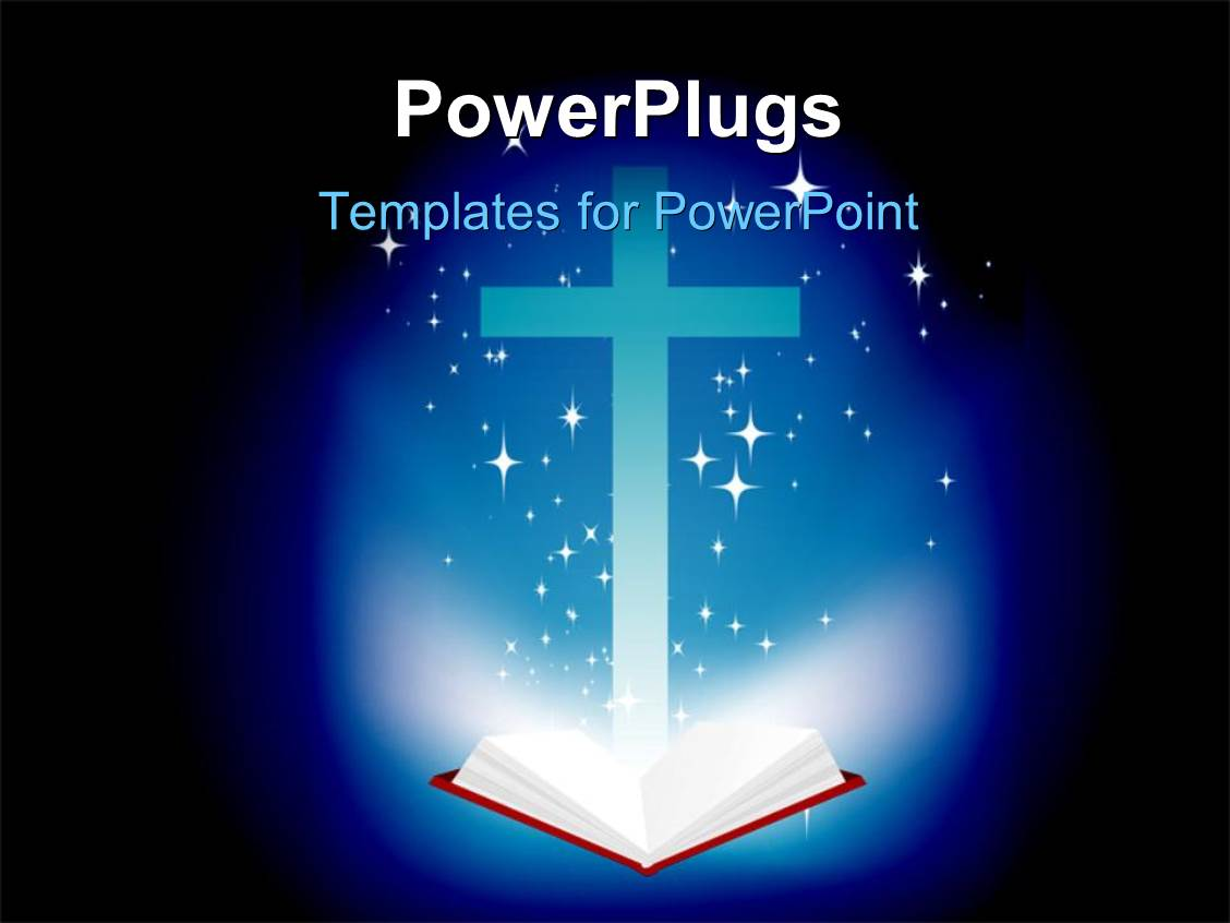 5000 bible powerpoint templates w bible themed backgrounds presentation theme with an open holy bible and a brightly lit cross toneelgroepblik Gallery