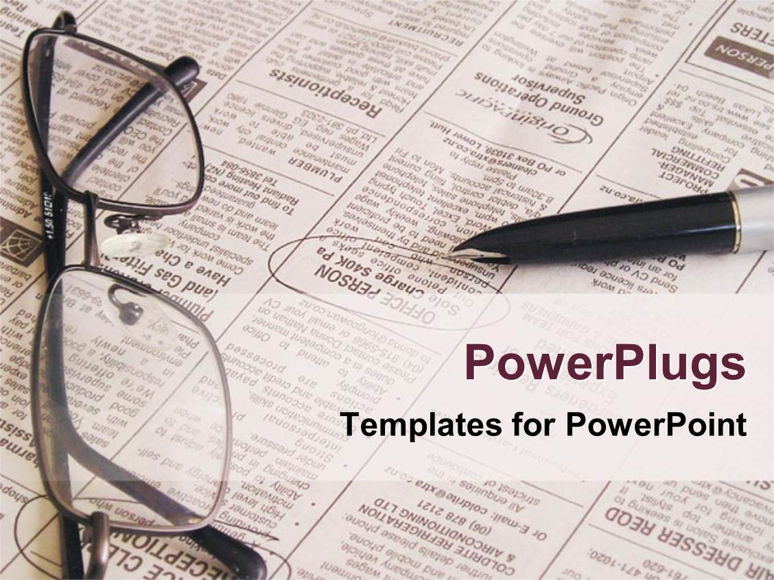 Powerpoint template open newspaper with pen and eyeglasses job powerpoint template displaying open newspaper with pen and eyeglasses job searching newspaper toneelgroepblik Image collections