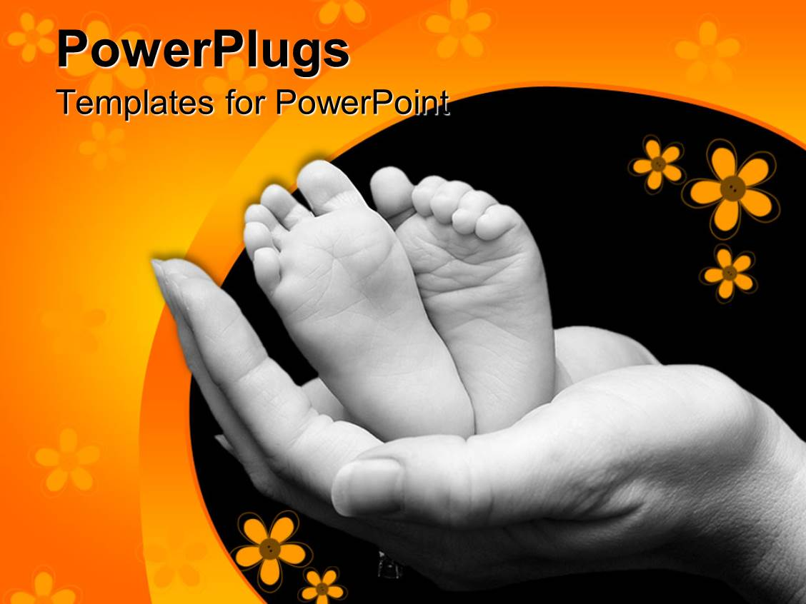 PowerPoint Template Displaying a Pair of Hand Holding Young Baby's Feet with Flowers in the Background