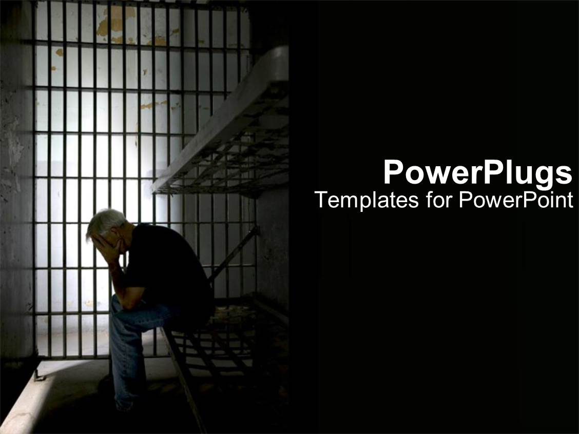 Powerpoint template depression in jail 17751 ppt theme enhanced with person in dark prison cell for illegal activity as a metaphor on toneelgroepblik Choice Image