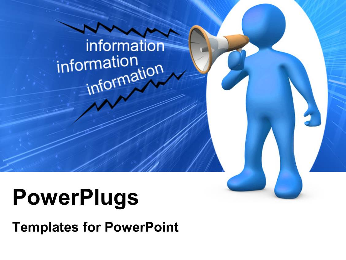 Powerpoint template a 3d design giving the concept of leadership audience pleasing presentation theme featuring person holding a megaphone and giving information alramifo Images