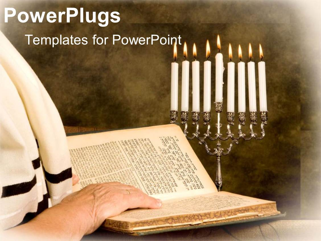5000 jewish powerpoint templates w jewish themed backgrounds ppt theme featuring a person reciting the torah with candles in the background toneelgroepblik Images
