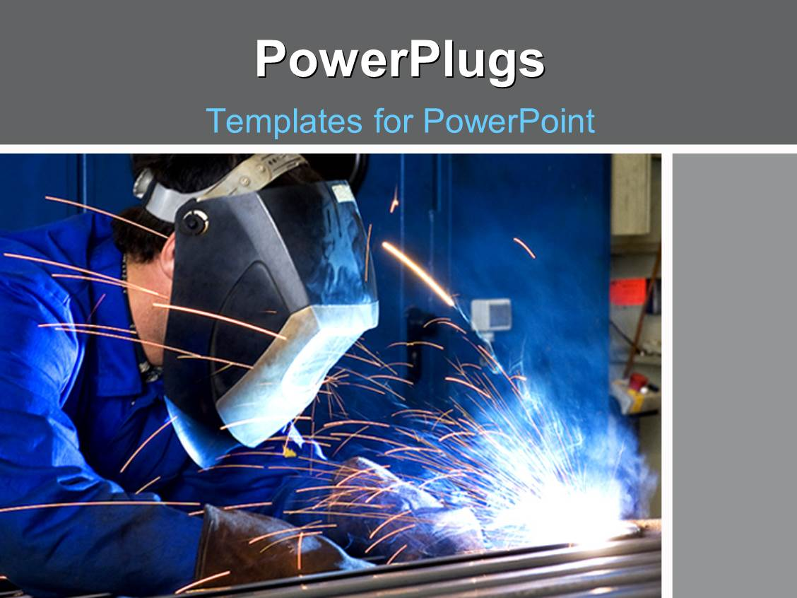 Powerpoint template a person welding the rods with bluish powerpoint template displaying a person welding the rods with bluish background pronofoot35fo Choice Image