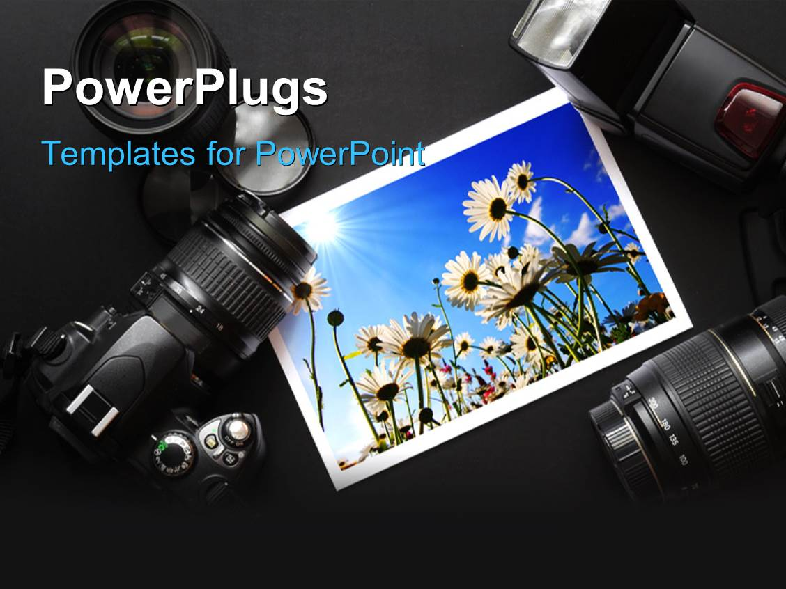 Powerpoint template camera technology neutral background filming ppt theme having a photograph with two cameras and lens toneelgroepblik Images