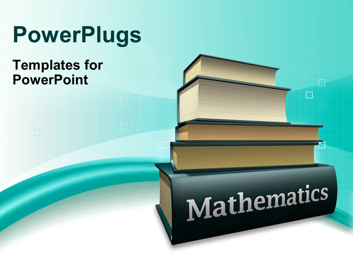 Powerpoint template classroom view showing teacher standing near slides having pile of books on mathematics textbook over blue and white background alramifo Images
