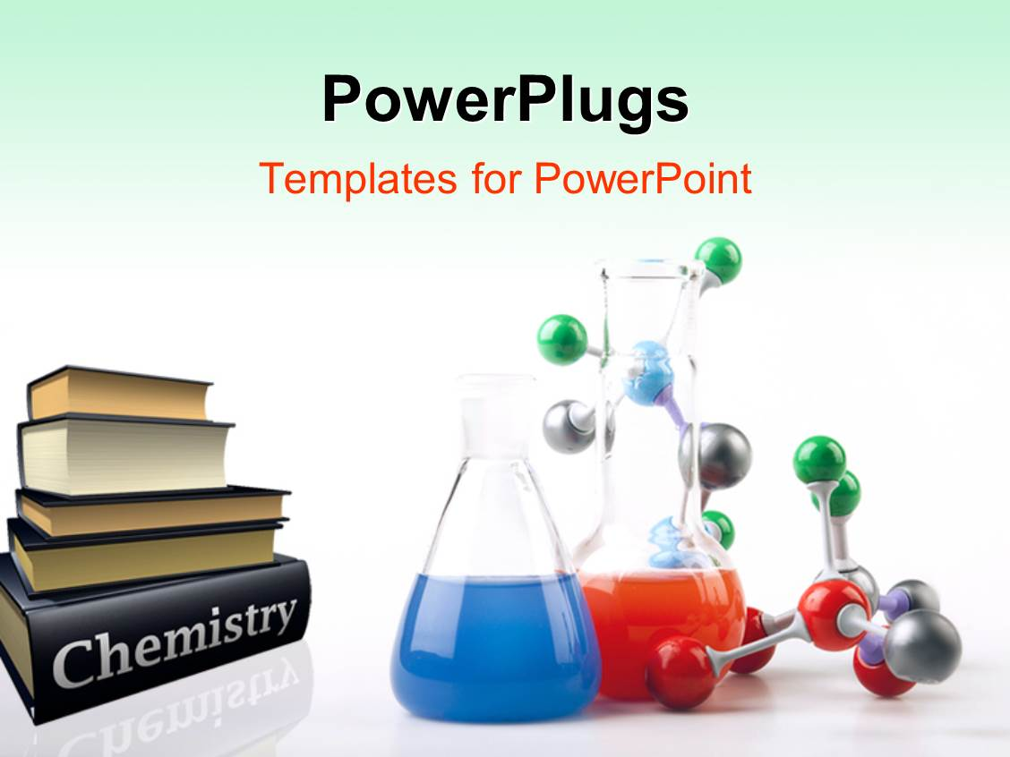 powerpoint template pile of chemistry textbooks with
