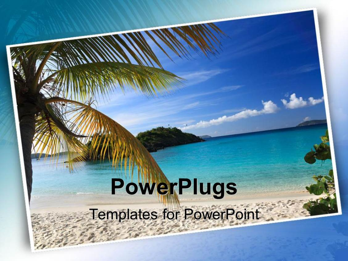 5000 beach powerpoint templates w beach themed backgrounds beautiful slides with postcard of beautiful beach scene with palm tree sand beach and ocean template size toneelgroepblik Image collections